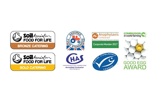 Accredited with Soil Association Food for Life Bronze Catering, Soil Association Food for Life Gold Catering, Assured Food Standard, Chas Accredited Contractor, Anaphylaxis Campaign Corporate Member 2017, Marine Stewardship Council and Compassion in world farming Good Egg Award